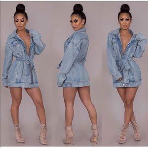 Jackets & Blazers - Belted Denim Dress/Jacket
